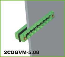 "2CDGVM-5.08-03P-14-00AH, Клеммник 3 конт. ""вилка"" шаг 5.08 мм, с бок. резьб. отверст., с фланцем под панель (с лентой уплотн."