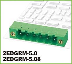 "2EDGRM-5.0-03P-14-00AH, Клеммник 3 конт. ""вилка"" шаг 5.00 мм, с боков. резьб. отверст., пр. угол на плату, до 300В/15А, зеле"