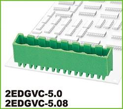 """2EDGVC-5.0-03P-14-00AH, Клеммник 3 конт. """"вилка"""" шаг 5.00 мм закрытый, вертик. на плату, до 300В/15А, зеленый изол."""