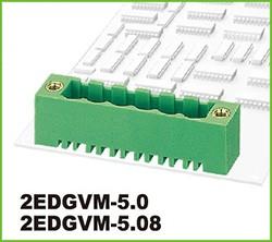 "2EDGVM-5.0-03P-14-00AH, Клеммник 3 конт. ""вилка"" шаг 5.00 мм, с боков. резьб. отверст., вертик. на плату, до 300В/15А, зелен"