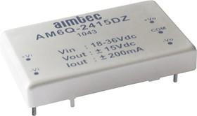 AM6Q-2412SZ, DC/DC преобразователь, 6Вт, вход 18…36В DC, выход 12В/500мА