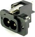 """AS-203B-EN (ZL), Разъем питания IEC-320 C8 220В/2.5А 2-х конт. """"вилка"""", на панель, крепл. - под 2 винта (расст. межд"""