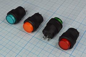 Выключатель кнопочный, красная подсветка, без фиксации 220В/3А, № 2032 R ПКн\220\ 3,0\OFF-(ON)\d16\ ILкр2В\4C\R16-503BD\