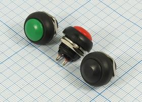 Выключатель кнопочный, без фиксации, чёрный 220В/1А ПКн\220\ 1,0\OFF-(ON)\d12\ чер\2C\PBS-33B\