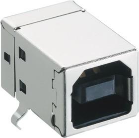 2411 03, Разъем USB, Типа B, USB 2.0, Гнездо, 4 вывод(-ов), Монтаж в Сквозное Отверстие, Прямой Угол