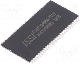 Фото 1/3 IS42S16160G-7TLI, Микросхема памяти, SDRAM, 256Mb (16M x 16), Parallel, 143MHz, 5.4ns [TSOPII-54]