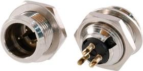 """MC-913-3P-EN, Разъем Mini-XLR 3 конт. """"вилка"""" на панель, с метал. фланцем (крепл. изнутри гайкой), под пайку"""