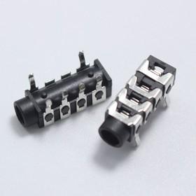"""ST-313 (NB), Разъем аудио-стерео 3.5 мм """"гнездо"""" 4-х конт., прямой угол на плату (шир.5.8 x глуб.17.2 x выс.5.0 м"""