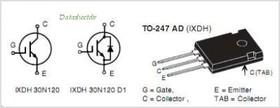 Фото 1/3 IXDH30N120D1, Транзистор, NPT IGBT, 1200В, 60А [TO-247AD 3L]