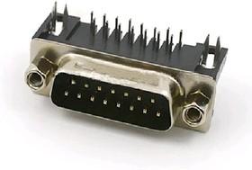 "DR15P-H-CN (DRB-15MA) (DBR-15M), Разъем D-Sub 15 конт. ""вилка"" (2-х рядн.) на плату L = 8.1 мм (7.2), прямой угол черный изолятор"