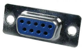 """DS09ST-H-CN (DB-9F), Разъем D-Sub 9 конт. """"гнездо"""", пайка на кабель синий изолятор"""