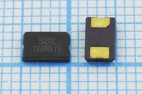 кварцевый резонатор 12.0МГц в корпусе с 2-мя контактами SMD 5x3.2мм, нагрузка 12пФ, 12000 \SMD05032C2\12\ 10\ 30/-40~85C\SMG0503(2P)\1