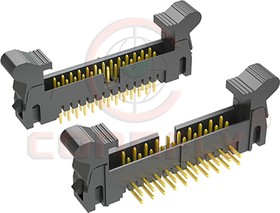 "DS1011-02-10 RN8B (SCM2-10R), Разъем ""вилка"" 2мм 10 конт.(2x5), с боковыми фиксаторами прямой угол на плату"