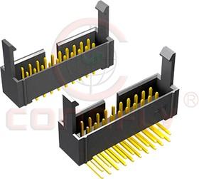 DS1013-01-20 RSIB, Вилка 2,54мм 2x10, с боковыми отгибн. фиксаторами, прямой угол на плату