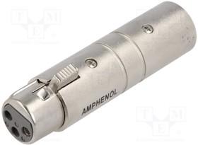"""AC3F3MW, Соединитель; XLR """"мама"""",XLR """"папа""""; PIN: 3; серебристый; прямой"""