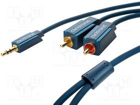 CLICK-C-70467, Кабель, Jack 3,5 мм вилка,RCA вилка x2, позолота, 2м, синий