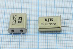 Фото 1/4 кварцевый резонатор 5.727272МГц в корпусе HC49U, нагрузка 18пФ, вывода 5мм, 5727,272 \HC49U\18\\\\1Г 5мм