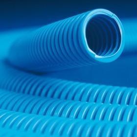 Труба гофрированная ППЛ 16 мм с протяжкой легкая синяя (100м)