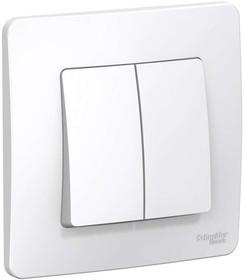 Фото 1/2 BLANCA скрытой установки двухклавишный выключатель (cх.5), 6а, 250в, белый