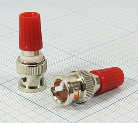 Высокочастотный переходник штекер BNC на приборную клемму, красный цвет,№ 2616 шт BNC-клемма приб\d6\изол кр\