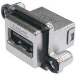 Фото 2/2 MUSBR-3193-M0, Герметичный разъем USB, угловой, прочный, USB Типа A, USB 3.0, Гнездо, 9 Позиций, Монтаж в Панель