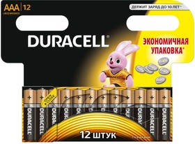 Фото 1/2 Элемент питания алкалиновый LR MX 2400/LR03 BASIC BP-12 (блист.12шт) Duracell Б0014520