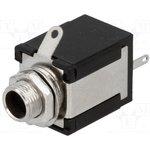 JC-118/1, Гнездо, Jack 6,3мм, stereo, размыкающие контакты,с выключателем