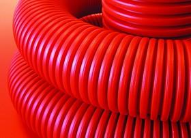 Труба гофрированная двустенная 110 мм с протяжкой с муфтой красная (50м)