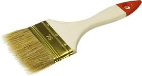 """01099-075_z01, Кисть плоская ЗУБР """"УНИВЕРСАЛ-ОПТИМА"""", светлая щетина, деревянная ручка, 75мм"""
