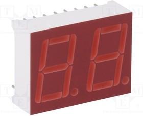 Фото 1/2 LTD-6910HR, Дисплей LED, 7-сегментный, 14,2мм, красный, 0,8-2,4мкд, анод