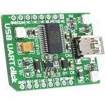MIKROE-1203, Дочерняя плата, UART,USB, mikroBUS, на базе микросхемы FT232R