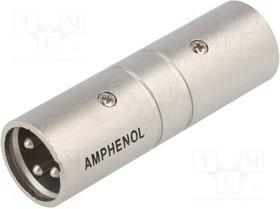"AC3M3MW, Соединитель; XLR ""папа"",с обеих сторон; PIN: 3; серебристый"