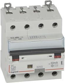 Выключатель автоматический дифференциального тока 4п C 20А 30мА тип AC 6кА DX3 4мод. Leg 411187