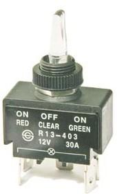 Тумблер на три положения и три цвета подсветки красный и жёлтый и зелёный ,12В/30А, 10474 ПРыч\ 12В\30А\ON-OFF-ON\ d12,2\ILкрIlжелIlзел\5T\