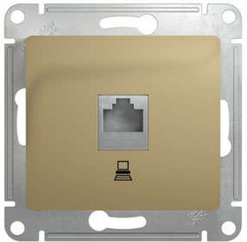 Фото 1/2 GLOSSA Розетка компьютерная RJ45 категория 5е в рамку титан