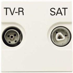 Розетка TV-R-SAT 2мод. Zenit с накладкой бел. ABB 2CLA225130N1101