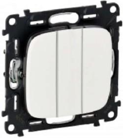 Valena ALLURE Лицевая панель для выключателя трехклавишного Белая