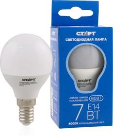"""LED-Sphere-E14-7W40, Лампа светодиодная """"шар"""" 7Вт, 220B, матовая"""