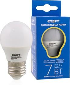 """LED-Sphere-E27-7W27, Лампа светодиодная """"шар"""" 7Вт, 220B, матовая"""