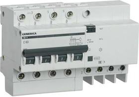 Выключатель автоматический дифференциального тока 4п 63А 300мА АД14 GENERICA ИЭК MAD15-4-063-C-300