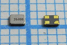 кварцевый резонатор 26МГц в корпусе SMD 1.6x1.2мм, под нагрузку 8пФ 26000 \SMD01612C4\ 8\ 10\ 30/-40~85C\S1612\1Г STE