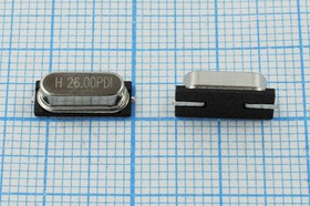 кварцевый резонатор 26МГц в корпусе HC49SMD, под нагрузку 12пФ, 26000 \SMD49S4\12\ 20\ 30/-40~85C\L4\1Г