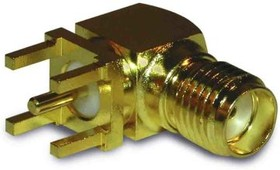 Фото 1/2 132136,, SMA Right Angle 50 Through Hole BNC Connector, jack, Gold, Solder Termination, Standard Polarity