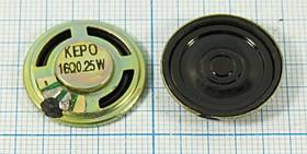 Динамик, диаметр 23мм, толщина 5мм, 16 Ом, 0.25 Вт, 6440 дин 23x 5\ 16\0,25\мет/пл\ 2C\KPSP2350MN-E\