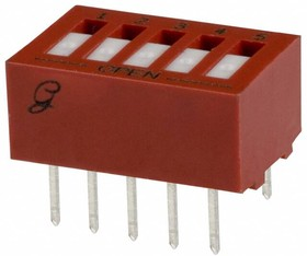 76RSB05ST, Switch DIP ON OFF SPST 5 Recessed Rocker 0.15A 30VDC PC Pins 2000Cycles 2.54mm Thru-Hole Tube