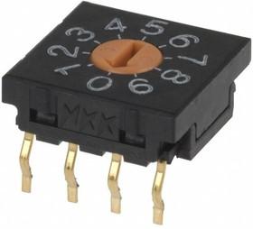FR01FR10P-S, Switch DIP N.O./N.C. SP10T 10 Flush Screwdriver 0.1A 5VDC PC Pins 1000Cycles Thru-Hole Tube