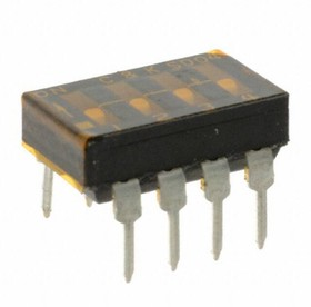 SD04H0B, Switch DIP OFF ON SPST 4 Flush Slide 0.1A 25VDC PC Pins 2000Cycles/Switch 2.54mm Thru-Hole Tube