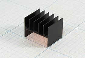 Ребристый радиатор черного цвета №12393 охладитель 25x 31x 25\H04\\Al\чер\BLA021-25\