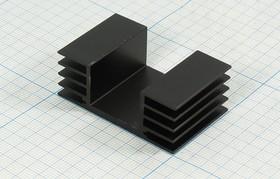 Ребристый радиатор черного цвета №12490 охладитель 30x 49x 18\J08\\Al\чер\HS304-30\