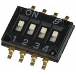 Фото 2/2 97C04ST, Switch DIP ON OFF SPST 4 Recessed Slide 0.025A 24VDC Gull Wing 1000Cycles 1.27mm SMD Tube